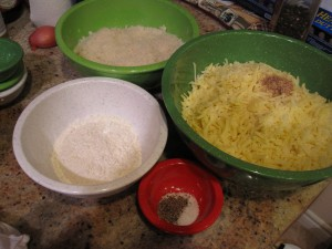 Cheese, spices, flour and breadcrumbs